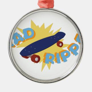 Rad Ripper Skateboard Silver-Colored Round Decoration