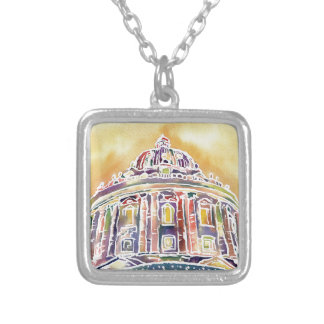 Radcliffe camera - watercolour painting silver plated necklace