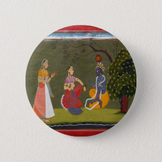 Radha and Krishna in Discussion 6 Cm Round Badge