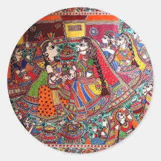 RADHA KRISHNA HINDU GODS MADHUBANI ART STYLE ROUND STICKER