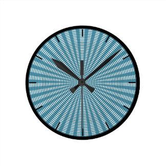 Radial Circular Weaving Pattern - Blue Round Clock