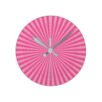 Radial Circular Weaving Pattern - Pink Round Clock