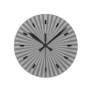 Radial Circular Weaving Pattern - Silver Round Clock