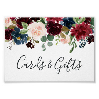 Radiant Bloom Wedding Cards & Gifts Sign