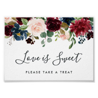 Radiant Bloom Wedding Dessert Bar Sign