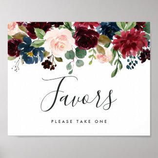 Radiant Bloom Wedding Favor Sign