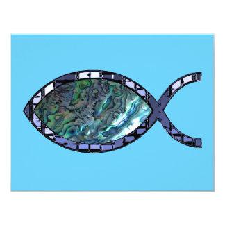 "Radiant Christian Fish Symbol 4.25"" X 5.5"" Invitation Card"