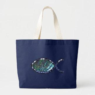 Radiant Christian Fish Symbol Jumbo Tote Bag