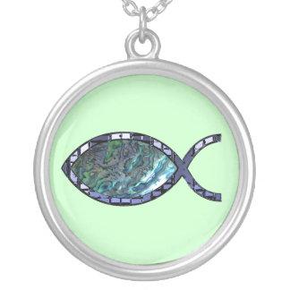 Radiant Christian Fish Symbol Round Pendant Necklace