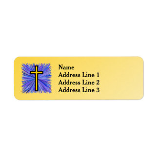 Radiant Cross on Yellow Gradient Background Return Address Label