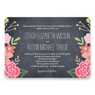 Radiant Florals Wedding Invitation - Pink Personalized Announcement