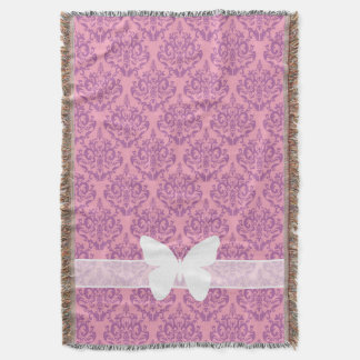 Radiant Frosted Orchid Damask with Butterfly