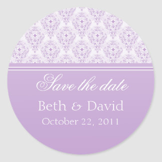 Radiant Glam Damask Save the Date Stickers