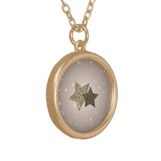Radiant Golden Brown Glitter Stars Silver Necklace