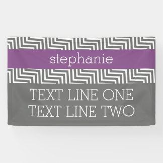 Radiant Orchid and Gray Chevrons Custom Name Banner