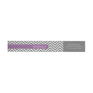 Radiant Orchid and Gray Chevrons Custom Name Wrap Around Label