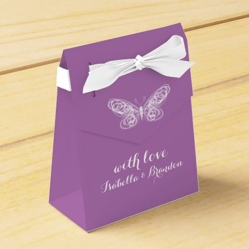 Radiant Orchid Butterfly Favor Box