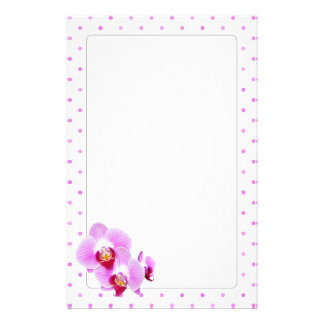 Radiant Orchid Closeup Photograph on Polka Dots Customized Stationery