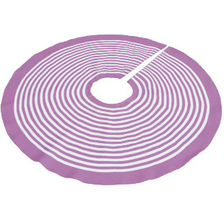 Radiant Orchid Purple White Striped Christmas Brushed Polyester Tree Skirt