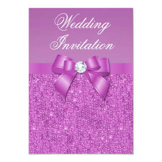 Radiant Orchid Sequins, Bow & Diamond Wedding Card