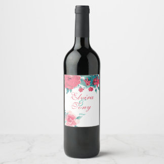 Radiant Peach Roses, Watercolor Floral Wine Label