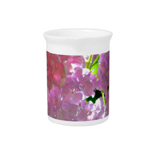 Radiant Pink hydrangeas Beverage Pitcher