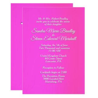 "Radiant Pink Wedding Invitation 5"" x 7"""