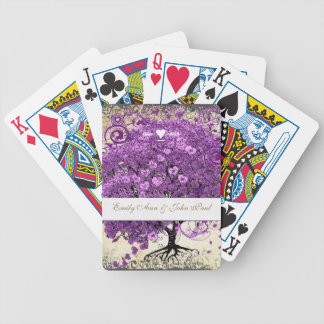 Radiant Purple Heart Leaf Tree Wedding Bicycle Playing Cards
