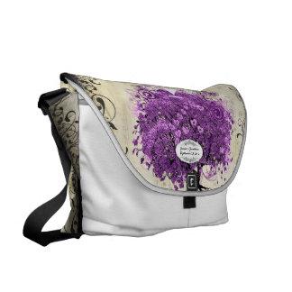 Radiant Purple Heart Leaf Tree Wedding Messenger Bag