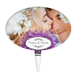 Radiant Purple Romantic Heart Leaf Wedding Cake Toppers