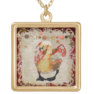 Radiant Red Rose Swan Necklace