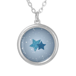 Radiant Silver Blue Glitter Stars Silver Necklace