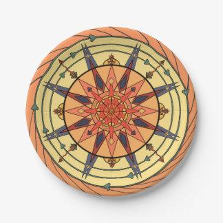 Radiant Sun Vintage Art Mandala Paper Plates