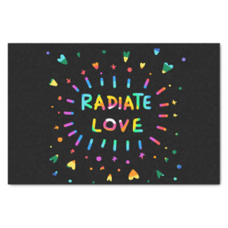 Radiate Love Colorful Rainbow Painting on Black Tissue Paper