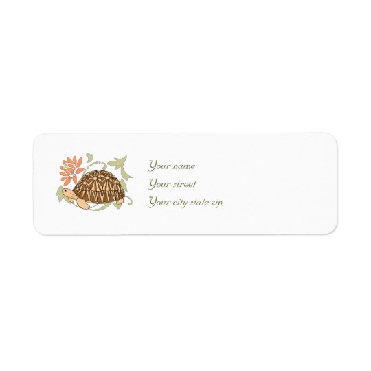 Radiated Tortoise Address Labels (floral brown)