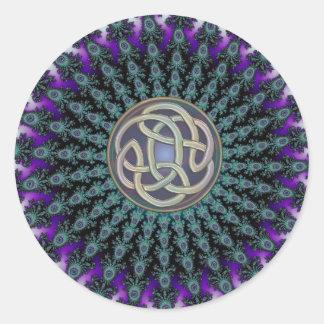 Radiating Fractal Mandala Grunge Celtic Knot Round Sticker