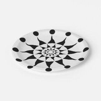 Radiating Tribal Sun 7 Inch Paper Plate