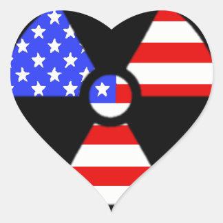 Radiation symbol american flag heart sticker