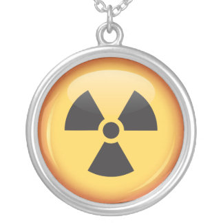 Radiation symbol button silver necklace