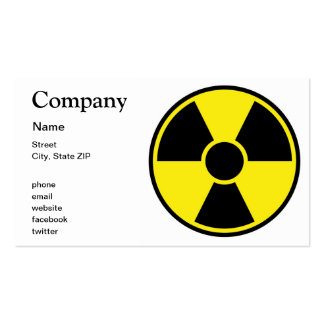 Radiation Warning Sign Pack Of Standard Business Cards