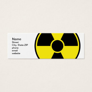 Radiation Warning Sign Mini Business Card