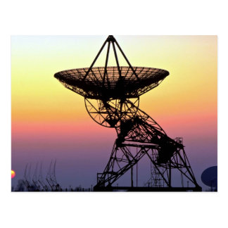 Radio astronomy dish aerial postcard