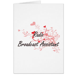 Radio Broadcast Assistant Artistic Job Design with Greeting Card