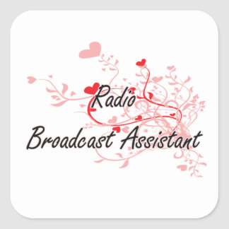 Radio Broadcast Assistant Artistic Job Design with Square Sticker