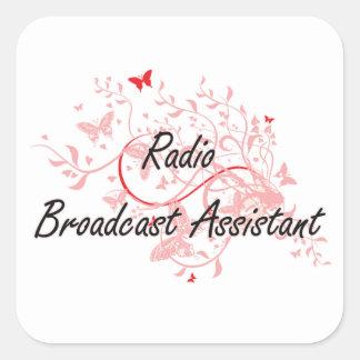 Radio Broadcast Assistant Artistic Job Design with Square Sticker