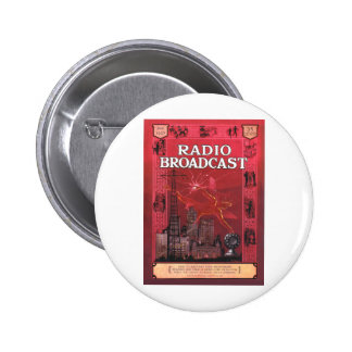 Radio Broadcast-Red Pinback Buttons
