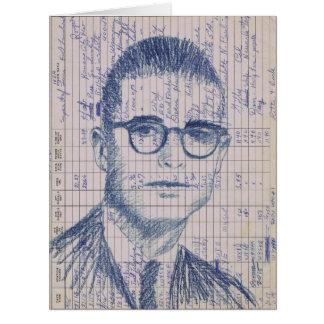 Radio Head #1 Vintage Ham Radio Drawing Portrait Big Greeting Card
