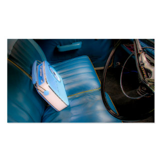 Radio on Blue Leather Car Seats Business Cards