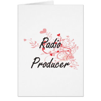 Radio Producer Artistic Job Design with Hearts Greeting Card