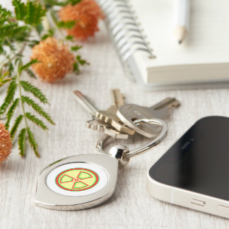 Radioactive Material Symbol Silver-Colored Swirl Key Ring